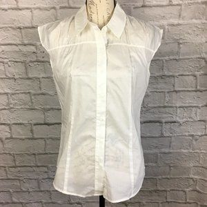 Talbots White Cotton Blouse Size 8 NWT